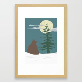 Bear Watching Moon Framed Art Print
