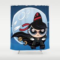powerpuff girls Shower Curtains featuring Powerpuff Bayonetta by Marco Mottura - Mdk7