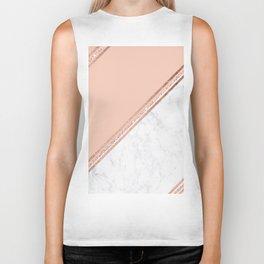 Modern stylish rose gold glitter geometric stripes blush pink white marble color block Biker Tank