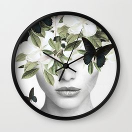 Woman With Flowers and Butterflies 3 Wall Clock
