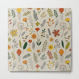 Colorful Plants and Herbs Pattern Metal Print