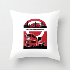 Greetings from London Throw Pillow