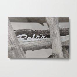Relax driftwood summer beach Metal Print