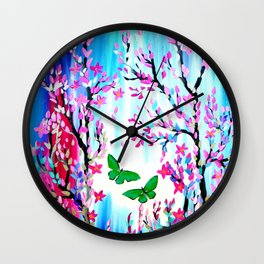 Butterflies and Cherry Blossom Wall Clock