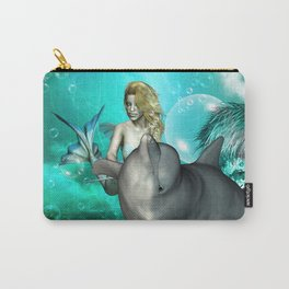 Beautiful mermaid with cute dolphin  Carry-All Pouch