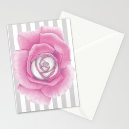 Pink Rose on Stripes Stationery Cards