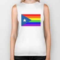 puerto rico Biker Tanks featuring puerto rico gay people homosexual flag rainbow by tony tudor