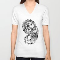 paisley V-neck T-shirts featuring Paisley by Flavia Caponi