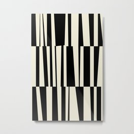BW Oddities III - Black and White Mid Century Modern Geometric Abstract Metal Print