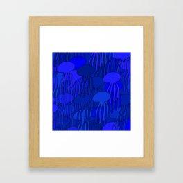 Jellyfish Blue Framed Art Print