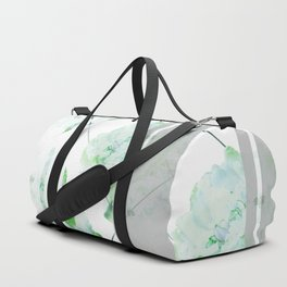 Abstract Geometric Lines Green Peonies Flowers Design Duffle Bag