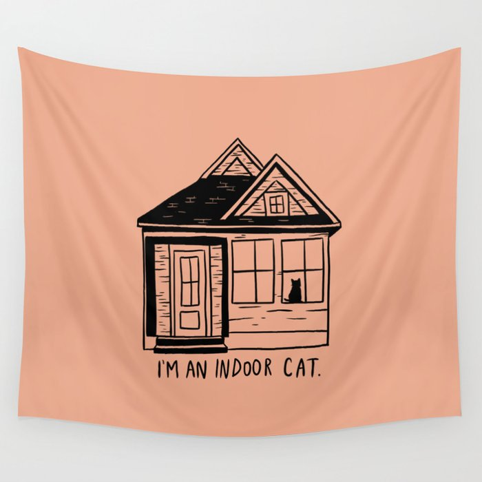 Indoor Cat (house) Wall Tapestry