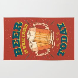Beer is what i need today, vintage poster, red Rug