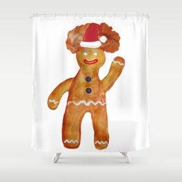Santa Gingerbread Man Shower Curtain