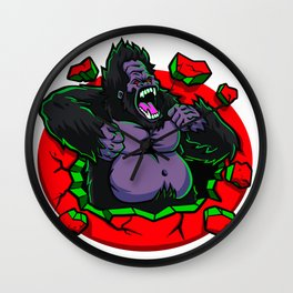 Angry gorilla breaking the wall Wall Clock
