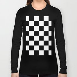 Large Checkered - White and Black Long Sleeve T-shirt