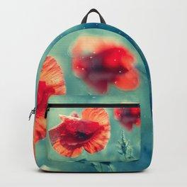 Red Poppy Flowerss On Aqua Backpack