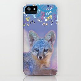 Gray Fox in the Clouds iPhone Case