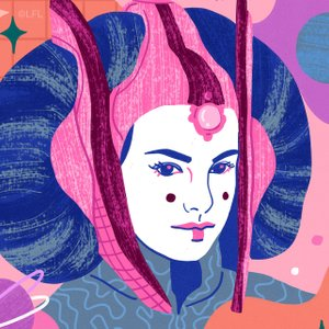 colorful illustration of Queen Padme Amidala