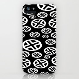 Scattered Circles - Black and White Pattern of Circles and Crosses iPhone Case