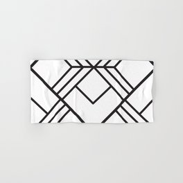 Geometrical modern black abstract diamond stripes pattern Hand & Bath Towel