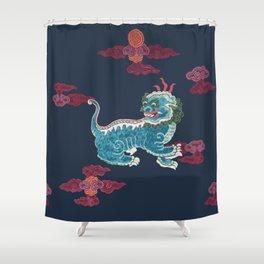 Foo beasties on navy Shower Curtain