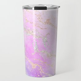 Modern rainbow glitter marble on nebula watercolor ombre Travel Mug