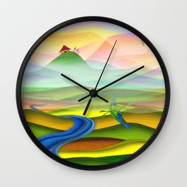 Fantasy valley naive artwork Wall Clock
