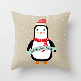 "Cute Penguin wishes ""Merry Christmas"" - X-mas Christmas Winter Design Throw Pillow"