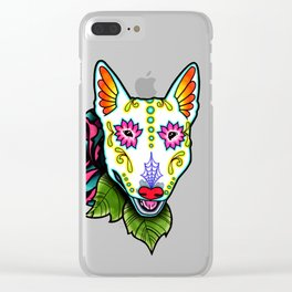 Bull Terrier - Day of the Dead Sugar Skull Dog Clear iPhone Case