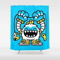 gaming Shower Curtains featuring Gaming Yeti by SAfdaf