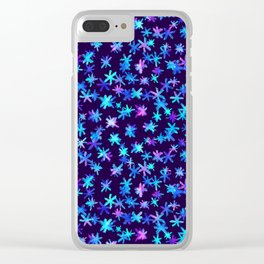 Watercolor Christmas pattern with hand drawn snowflakes. Clear iPhone Case