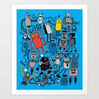 robots Art Prints featuring ROBOTS! by Chris Piascik