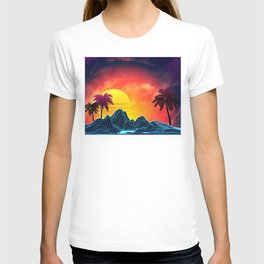 9ad210e6751 Sunset Vaporwave landscape with rocks and palms T-shirt
