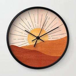 Abstract terracotta landscape, sun and desert Wall Clock
