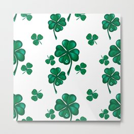 Good luck! Four leaf clover seamless pattern  Metal Print