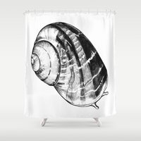 snail Shower Curtains featuring Snail by MARIA BOZINA - PRINT