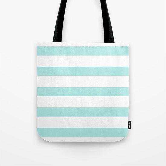 Aqua blue and White stripes lines - horizontal on #Society6 Tote Bag