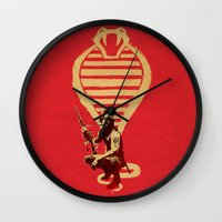 snake Wall Clocks featuring Snake by Robert Farkas