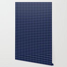 Navy Blue Grid Lines Minimal Wallpaper