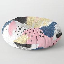Modern pink gold navy geometric abstract brushstrokes pattern Floor Pillow