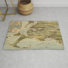 Vintage Cape Cod and NYC Steamboat Route Map Rug