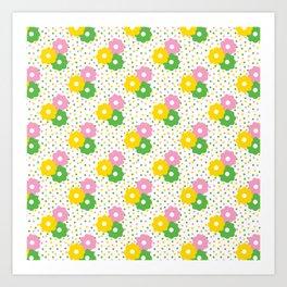 60s Ditsy Daisies + Dots Art Print