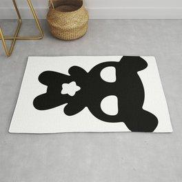 Cute Lazy Bear Black and White Rug