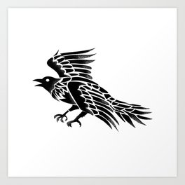 Raven Flying Side Tattoo Art Print