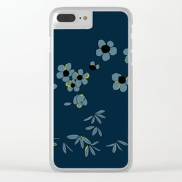Japanese Oleanders Blue on Blue Clear iPhone Case