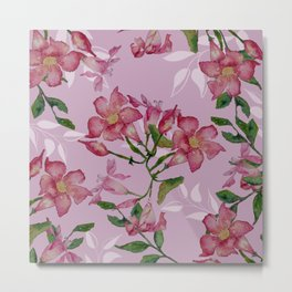 Pink Pretty Mandy Vine Watercolor Metal Print