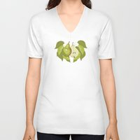 pear V-neck T-shirts featuring Pear by Marlene Pixley