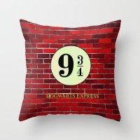 hogwarts Throw Pillows featuring Hogwarts Express by kattie flynn