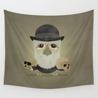 darwin Wall Tapestries featuring Charles Darwin - Greater-spotted British Scientist - as an owl. by Scott Tyrrell
